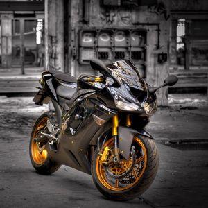 Превью обои kawasaki zx6-r, мотоцикл, фон