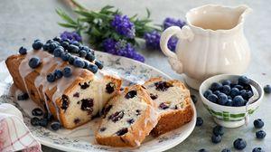 Превью обои кекс, черника, ягоды, выпечка, глазурь