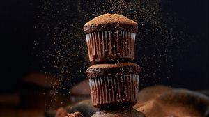 Превью обои кексы, шоколад, пудра, десерт, кулинария
