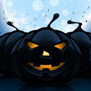 Превью обои хэллоуин, тыквы, рисунок, темный