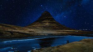 Превью обои холм, река, звездное небо, ночь