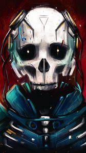 Превью обои киборг, череп, скелет, арт