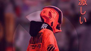 Превью обои киборг, маска, киберпанк, шлем, красный