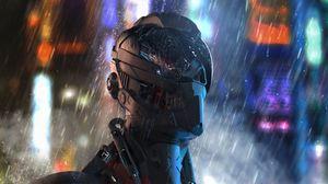 Превью обои киборг, робот, будущее, дождь