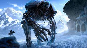 Превью обои киборг, робот, всадник, замок, горы, лед