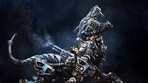 Превью обои киборг, робот, животное, железо
