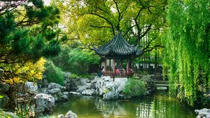Превью обои китай, шанхай, пруд, парк, деревья