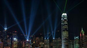 Превью обои китай, гонконг, ночь, мегаполис, здания, свет, небоскребы