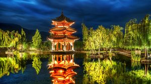 Превью обои китай, лес, озеро, ночь, небо, пагода