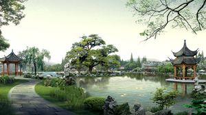 Превью обои китай, природа, здание, пагода, озеро, фотошоп