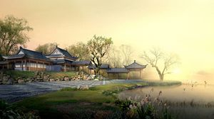Превью обои китай, сад, двор, минимализм, туман, озеро