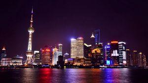 Превью обои китай, шанхай, ночной город, огни города