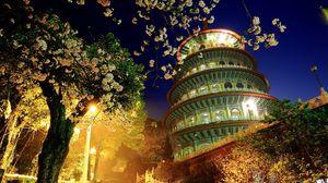 Превью обои китай, здание, вечер, деревья