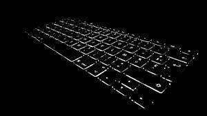 Превью обои клавиатура, подсветка, черно-белый, черный
