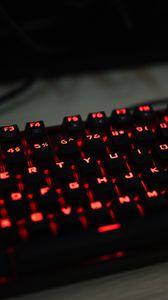 Превью обои клавиатура, подсветка, красный