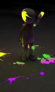 Превью обои клипарт, человек, краска, пятна, неон, люминесценция, флуоресценция