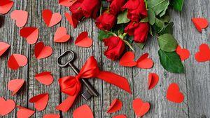 Превью обои ключ, лента, сердца, розы