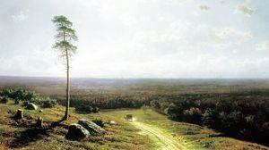 Превью обои клодт, живопись, искусство, дерево, повозка, поле, дорога