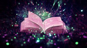 Превью обои книга, блики, блестки, трава, волшебство