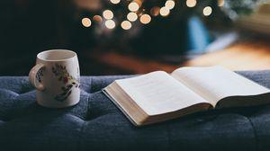 Превью обои книга, кружка, елка, праздник, отдых