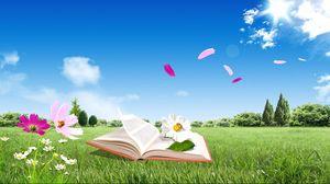 Превью обои книга, поле, цветы, полет, небо, природа, настроение
