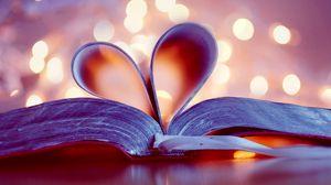 Превью обои книга, сердце, страницы, блики, закладка