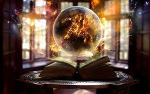 Превью обои книга, шар, магия, колдовство
