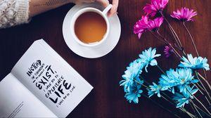 Превью обои книга, текст, мотивация, кофе, рука