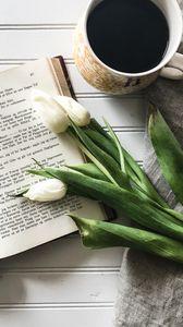 Превью обои книга, тюльпаны, кофе