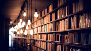 Превью обои книги, библиотека, полки, освещение