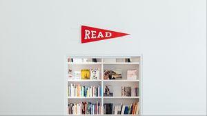 Превью обои книги, полка, чтение, минимализм