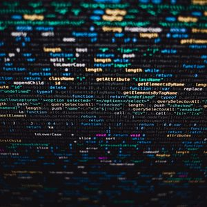Превью обои код, буквы, экран, размытость