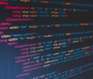 Превью обои код, буквы, экран, размытость, разноцветный, надписи, слова, текст