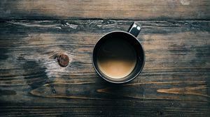 Превью обои кофе, чашка, деревянная поверхность