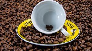 Превью обои кофе, чашка, кофейные зерна