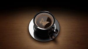 Превью обои кофе, чашка, рисунок, тарелка