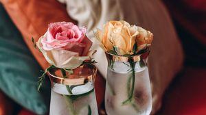 Превью обои кофе, чашка, роза, цветок, бокалы