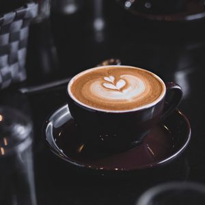 Превью обои кофе, капучино, чашка, пена, напиток