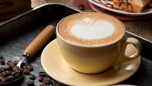 Превью обои кофе, капучино, пена, корица, зерна
