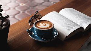 Превью обои кофе, книга, очки, напиток, чашка, стол