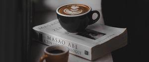 Превью обои кофе, книга, подоконник, уют, чтение