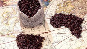 Превью обои кофе, мешок, зерна, карта