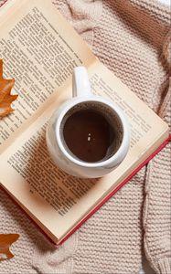 Превью обои кофе, напиток, чашка, книга, осень, эстетика