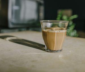 Превью обои кофе, напиток, стакан, стекло