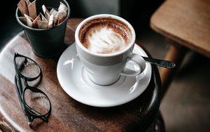 Превью обои кофе, столик, чашка, очки
