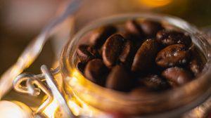 Превью обои кофейные зерна, кофе, банка, макро