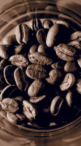 Превью обои кофейные зерна, кофе, банка, коричневый, макро