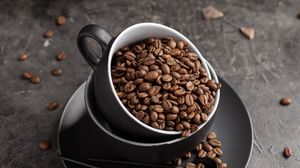 Превью обои кофейные зерна, кофе, чашка, шоколад