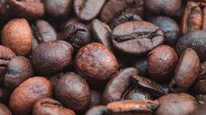 Превью обои кофейные зерна, кофе, обжаренный, макро