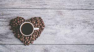 Превью обои кофейные зерна, кофе, сердце, любовь